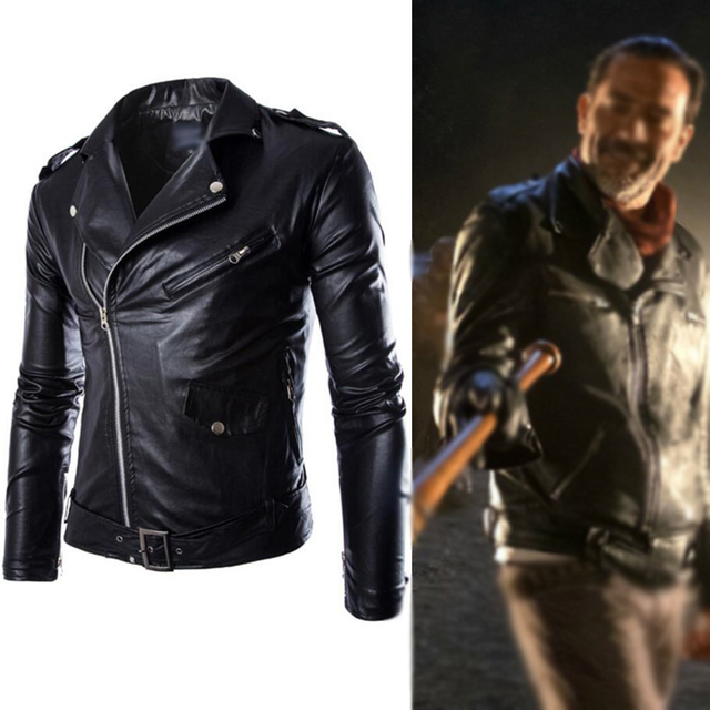 The Walking Dead Negan Black White PU Leather Jacket Coat Men Adult Halloween Cosplay Costume Winter Spring Autumn Coat