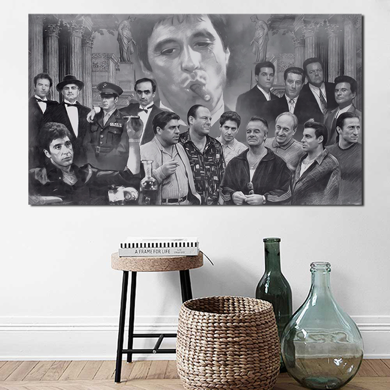 Classic Tony Montana <font><b>Gangsters</b></font> Collage Wallpaper HD Canvas <font><b>Posters</b></font> Prints Wall Art Painting Decorative Picture Home Decoration image