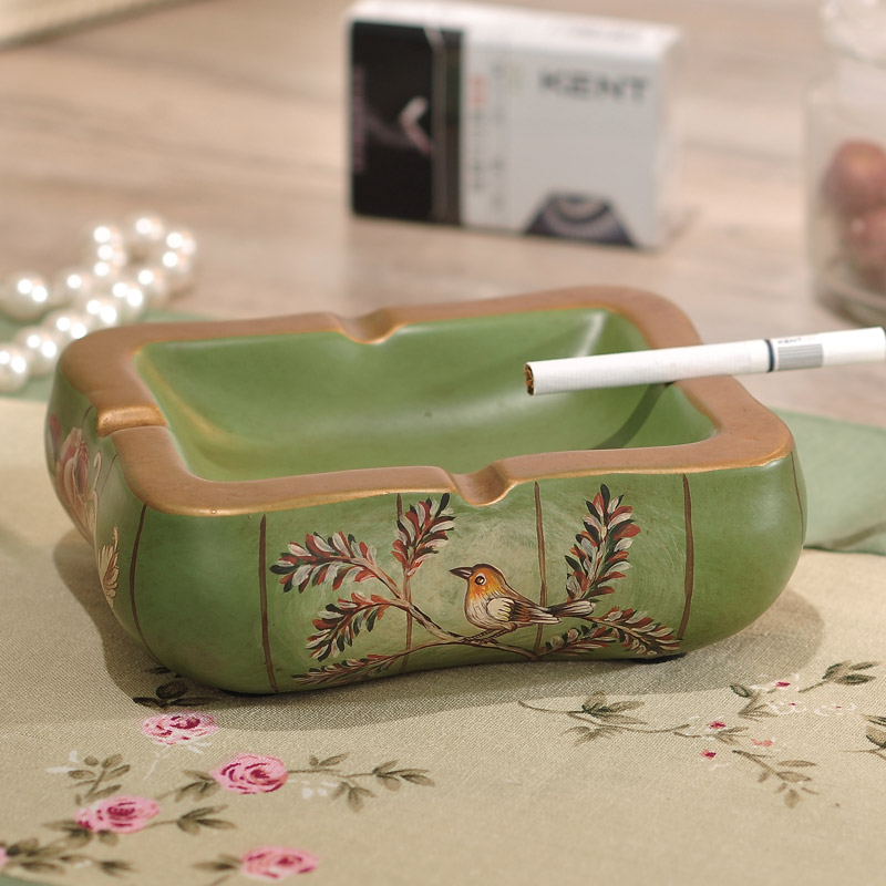 green series love bird hand painted ceramic ashtray european decor home furnishing living room decoration - Green Technology Homes