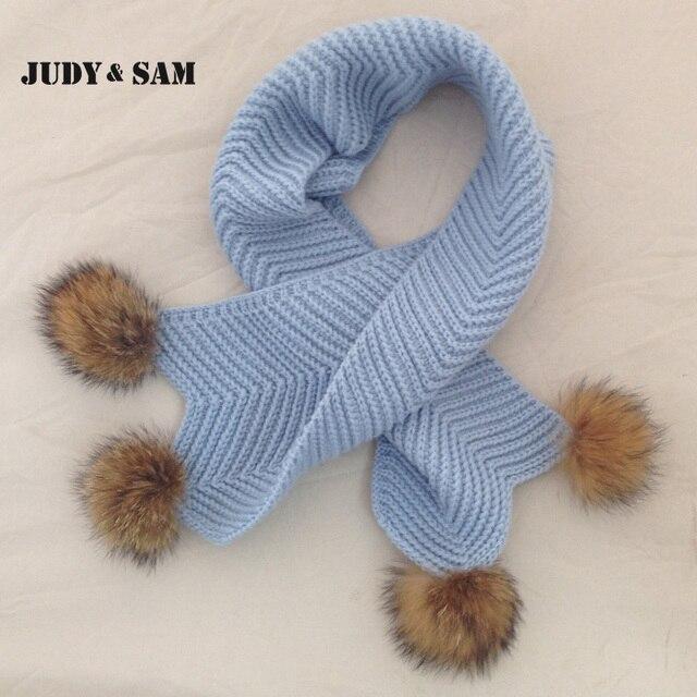 2015 Рождествнские вязаные шарфы с понпонами из меха енота