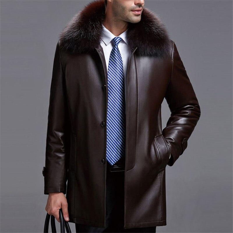 Réel renard col de fourrure amovible naturel fourrure de vison doublure vestes hommes moyen long véritable peau de mouton en cuir manteau survêtement plus la taille