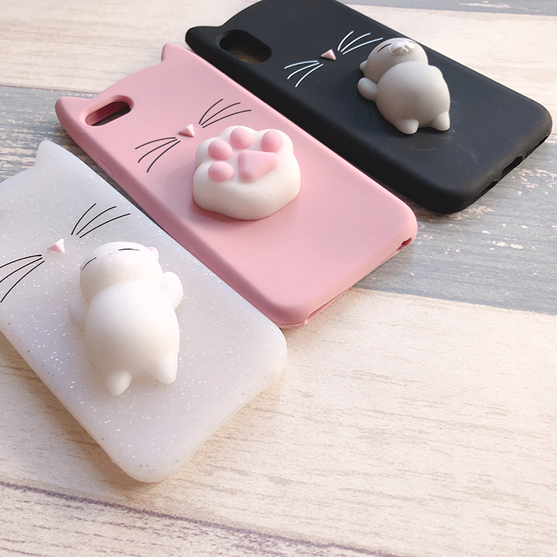 3D Cute Japan Glitter Bearded Cat Case For iphone 5 5S SE X Squishy Cat Cases For iphone 7 8 6 6S Plus Silicone Mobile Phone Bag (17)