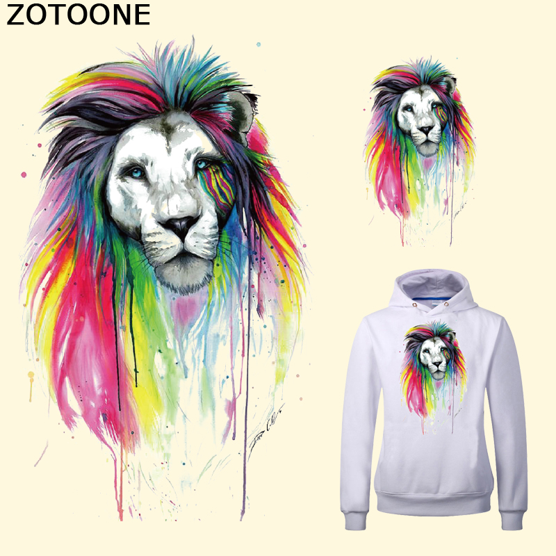 ZOTOONE European Style Colorful Lion Iron on Transfer Patch for Clothes A level Washable Ironing Stickers Print on T shirt Dress in Patches from Home Garden