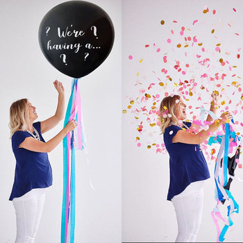 1set big 36 Inch Black Gender Reveal Balloon Boy or Girl birthday Party Latex Balloons Baby shower Decorations Confetti Balloon houhom baby shower decorations it s a boy girl gender reveal balloon large baby feeder balloon birthday party decorations kids