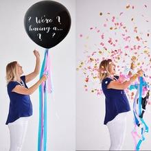 Globo negro de 36 pulgadas con confeti para niño o niña, decoración de látex fiesta para bebé, suministros de globos