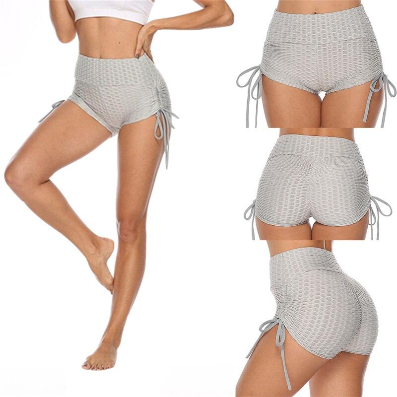 Gym Shorts Women Running Sports Fitness Shorts Workout High Waist Elastic Solid Tie Multicolor S-XL Sports Wear Women Yoga Short