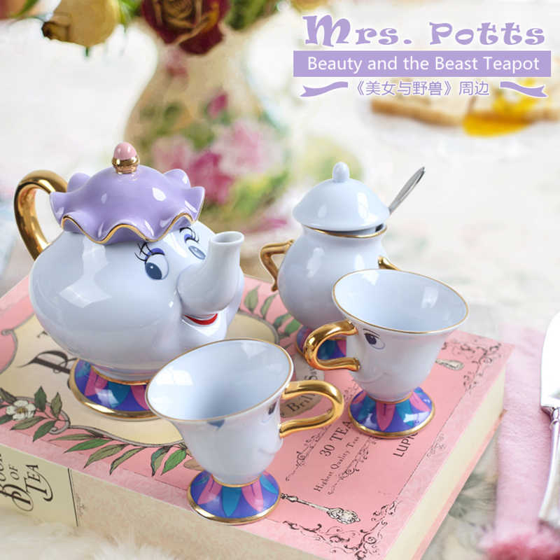 Beauty And The Beast Teapot Cup Set Mrs Potts Chip Tea Pot Cup Set Sugar Bowl Pot Gift 18K Gold-plated Painted Ceramic Fast Post
