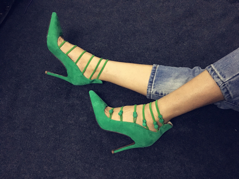 Pointed Toe Button Stripped Stiletto Pumps Shallow Thin High Heel Button Decor Narrow Bandage Sexy Feminine New Arrivals Shoes in Women 39 s Pumps from Shoes