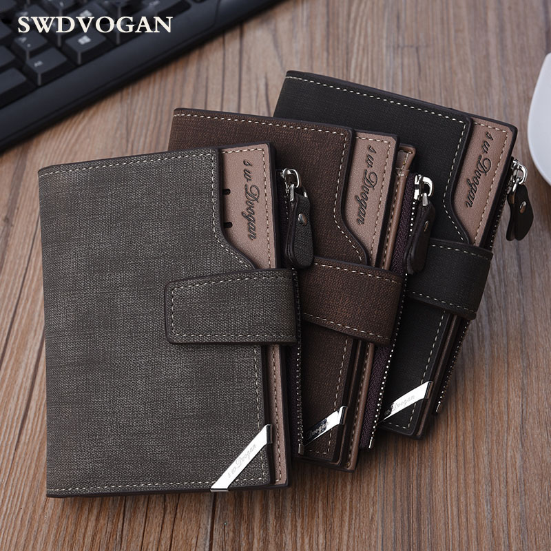 Wallet Male Coin Purse For Men Card Holder Luxury PU Leather Short Man Purses Wallets Zipper Card Wallet Money Bag Trifold Black