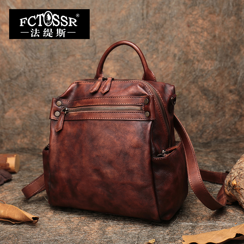 Autumn Latest Backpack Women Shoulder Bags Handmade Vintage Genuine Leather School Leisure Bag Men Notebook Rucksack Bag