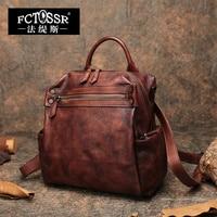 Autumn Latest Backpack Women Shoulder Bags 2019 Handmade Vintage Genuine Leather School Leisure Bag Men Notebook Rucksack Bag