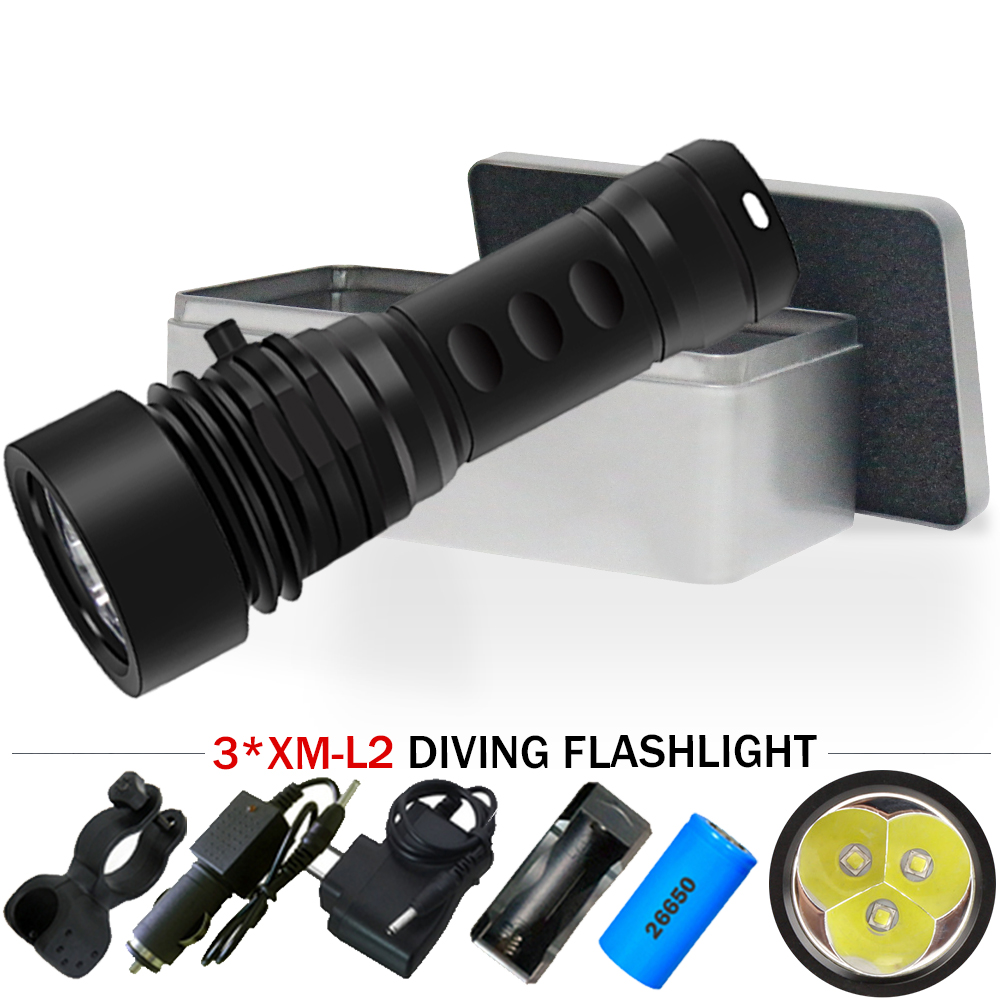 20000 lumen powerful led flashlight diving torch Scuba underwater flashlights lamp 3 cree xm l2 26650