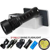 20000 lumen powerful led flashlight diving torch Scuba underwater flashlights lamp 3 cree xm l2 26650 Rechargeable fill light