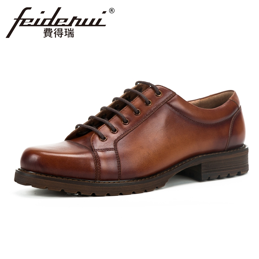 British Style Genuine Leather Men's Handmade Derby Footwear Round Toe Lace up Platform Man Formal Dress Wedding Shoes KUD122 men s dress shoes genuine leather cowhide leather pig inner round toe derby style wedding business shoes 2018 new lace up