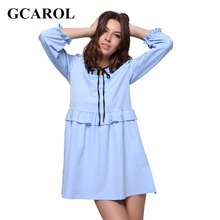 GCAROL 2017 Women New Lotus Leaf Fold Dress Sky Blue Tie UP Ruffles Dress Vintage Female Casual Dress For Summer Spring Autumn