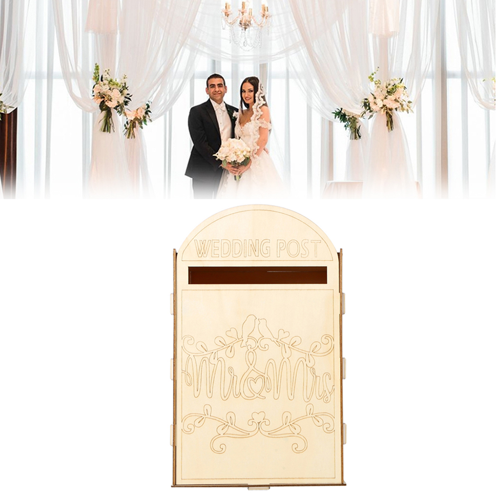 DIY Wooden Wedding Decoration Mailbox Bird Lovers Wedding Post Box Card with a Key(China)