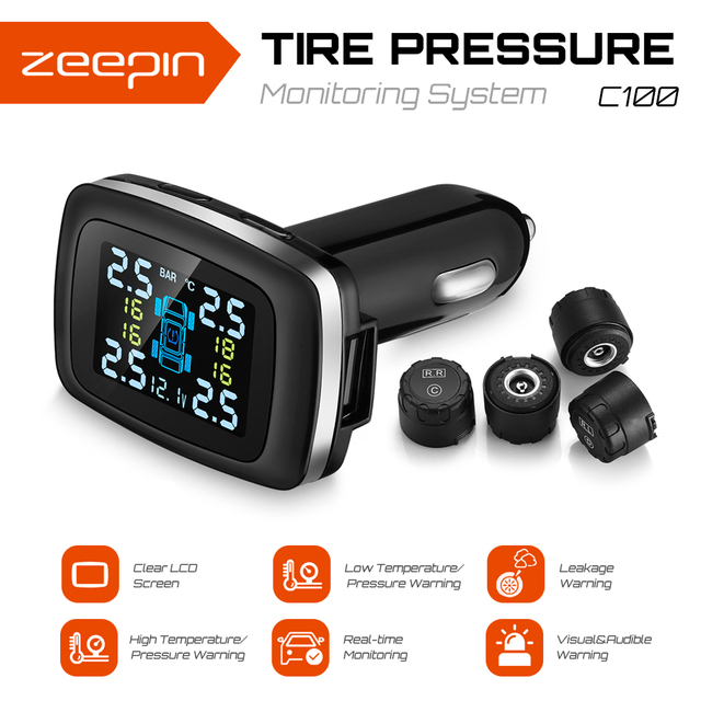 C100 Cigarette Lighter Plug TPMS LCD Screen USB Charging Tire Pressure Monitoring System With 4 External Tyre Pressure Sensors