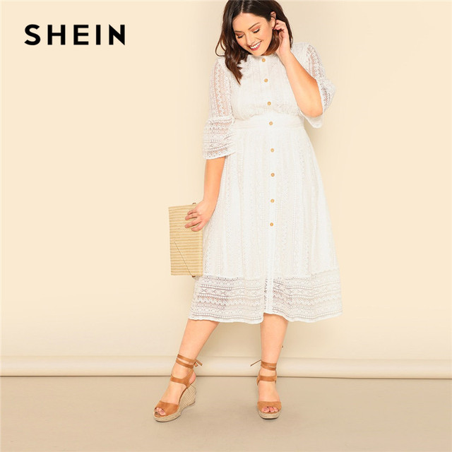 SHEIN Plus Size Lady Romantic Button Front Lace Overlay Maxi Dress Spring Elegant High Waist Half Sleeve A Line Long Dress