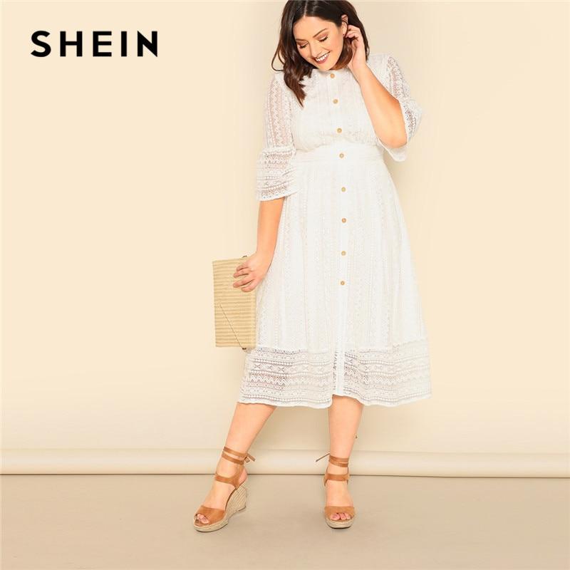 SHEIN Plus Size Lady Romantic Branco Botão Frontal Lace Overlay Vestido Maxi Primavera Elegante Meia Manga Cintura Alta UMA Linha vestido longo