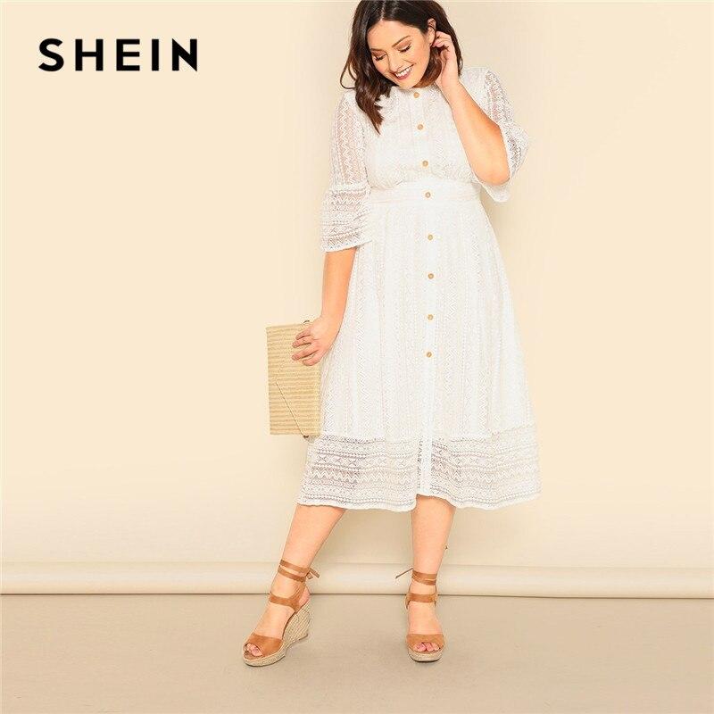 SHEIN grande taille Lady romantique blanc bouton avant dentelle superposition Maxi robe printemps élégant taille haute demi manches une ligne longue robe