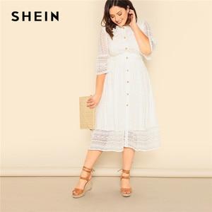Image 1 - Shein Plus Size Dame Romantische Button Voor Lace Overlay Maxi Jurk Voorjaar Elegante Hoge Taille Half Sleeve Een Lijn Lange jurk