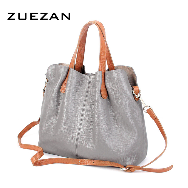 Set Bags Large Soft Leather Tote Women Genuine Handbag Lady Casual 100