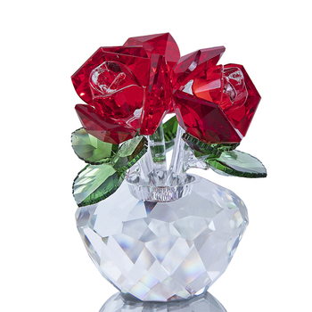 H&D Crystal Cut Glass Flower Decoration Rose Figurines Collectible Xmas Gift Home Living Room Party Wedding Souvenir Ornaments