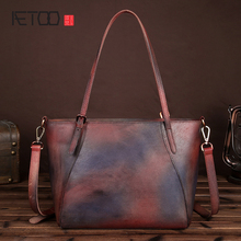 AETOO New retro wipe handmade handbags leather shoulder bag simple leisure first layer leather shopping bags