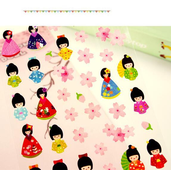 Kimono Doll & Sakura Decorative Stickers Adhesive Stickers DIY Decoration Diary Stickers alive for all the things are nice stickers adhesive stickers diy decoration stickers