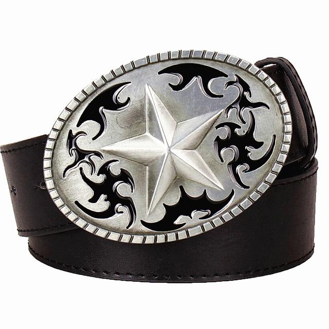 Fashion Mens Leather Belt Five Pointed Star Pattern Buckle Pentagram Totem 5 Starts Belts Punk Rock