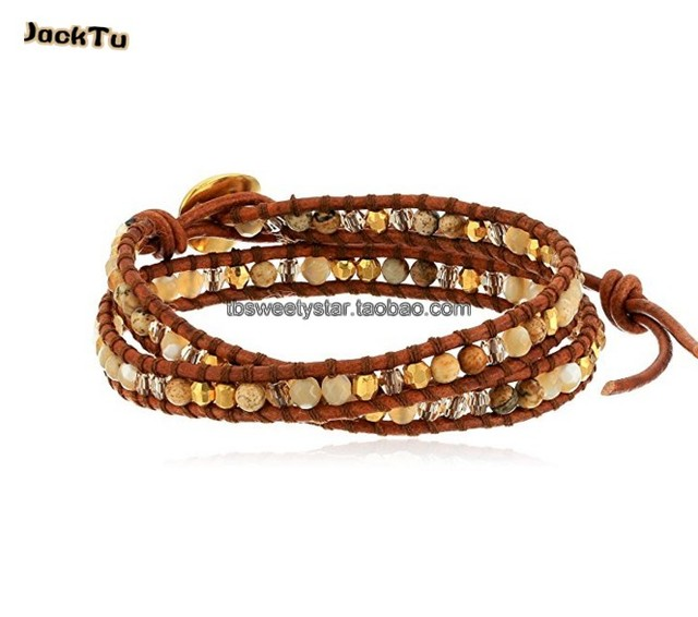 brown mother of pearl mix pictures stone jasper double wrap bracelet