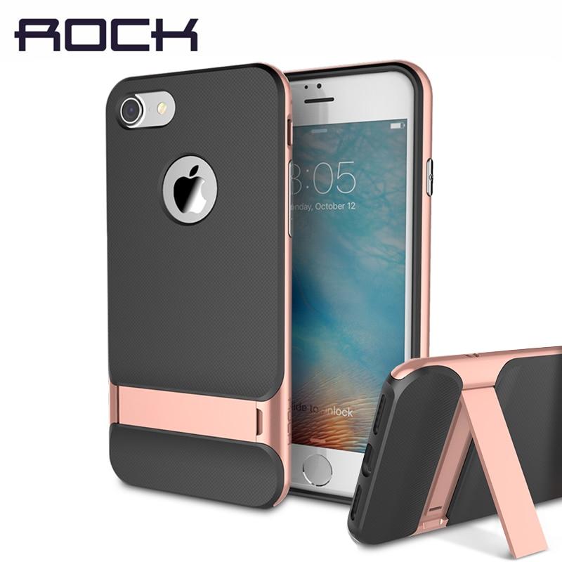 ROCK Standplatz-fall für iPhone 7/7 Plus Slim Luxury Brand telefon Fall PC + Silikon Telefon Schlanke Antiklopf Rückseite für iPhone7 Shell