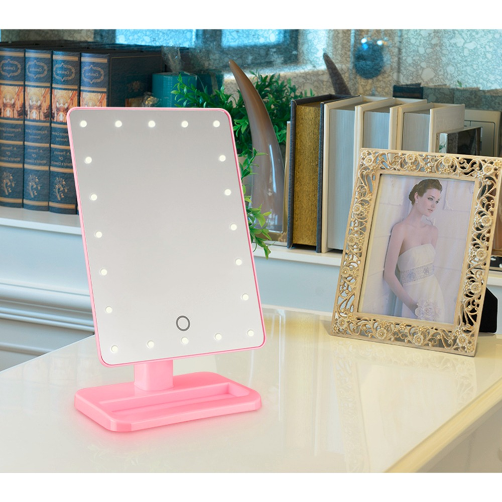 20 Led Light Touch Screen Make Up Mirror Cosmetic Folding