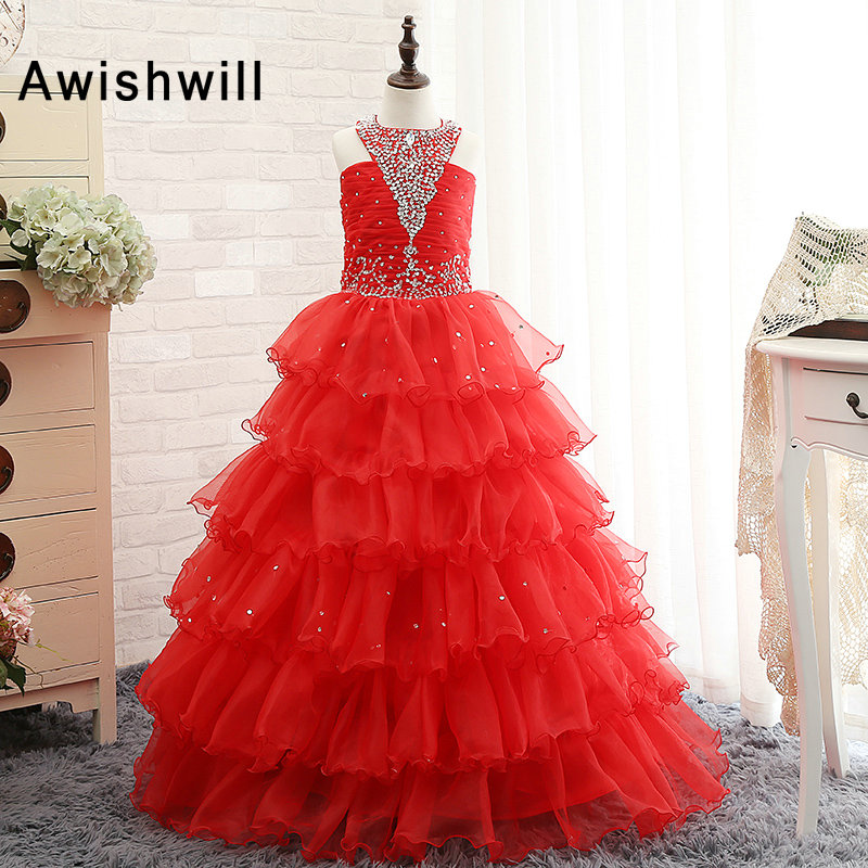 Red Ball Gown   Flower     Girl     Dresses   Halter Beadings Tiered OrganzaLace-up Back Floor Length Pageant   Dresses   for   Girls
