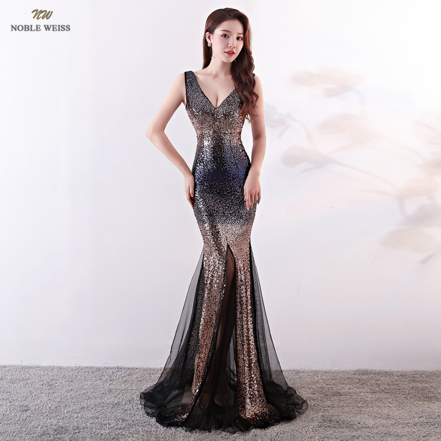 Evening Dresses 2019 Sexy V-neck Mermaid Colorful Sequin Women Formal Dress Floor Length In Stock Evening Gown