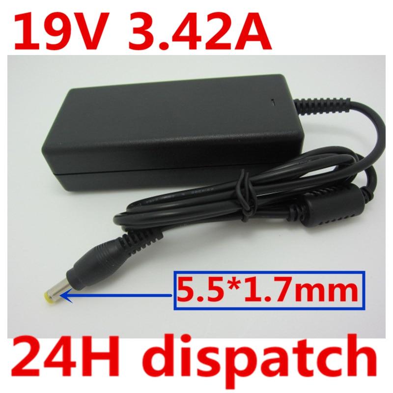 HSW 19 V 3.42A 5.5x1.7mm Universel adaptateur pour chargeur pc portable Pour Acer Aspire 5315 5630 5735 5920 5535 5738 6920 7520 SADP-65KB 1690