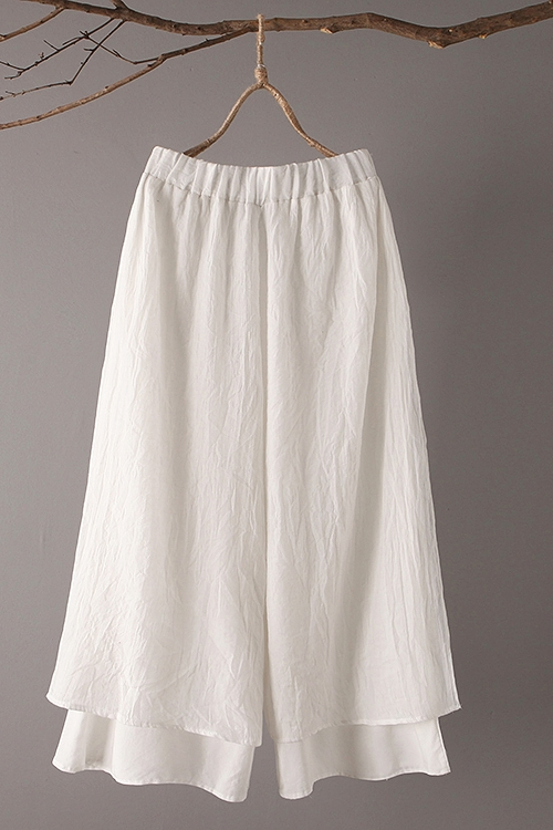 Original Design 2018 Spring Summer New Literary Vintage Elastic Waist Solid Color Double Layer Cotton And Linen Wide Leg Pants 6