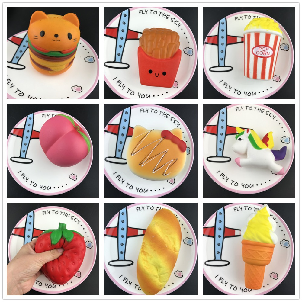 50pcs/lot DHL Free Squishy Food Slow Rising Squeeze toys Soft Bread/Cake/ice Cream/Banana Fruit Fun Kids squishies Toys Gift
