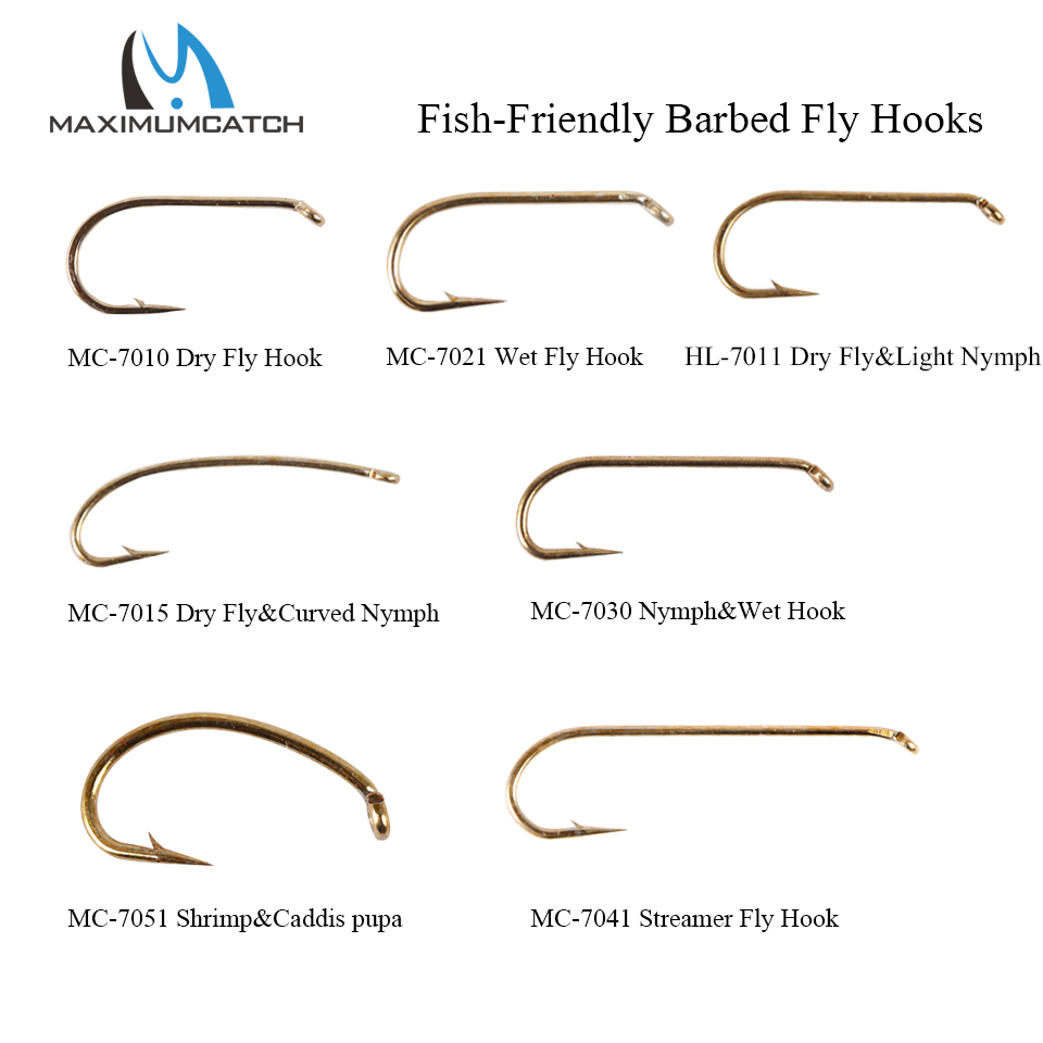 Maximumcatch 100pcs 4#-22# Fish-Friendly Barbed Fly Fishing Hooks Dry&Wet&Nymph&Shrimp Caddis Pupa Streamer Fly Hooks
