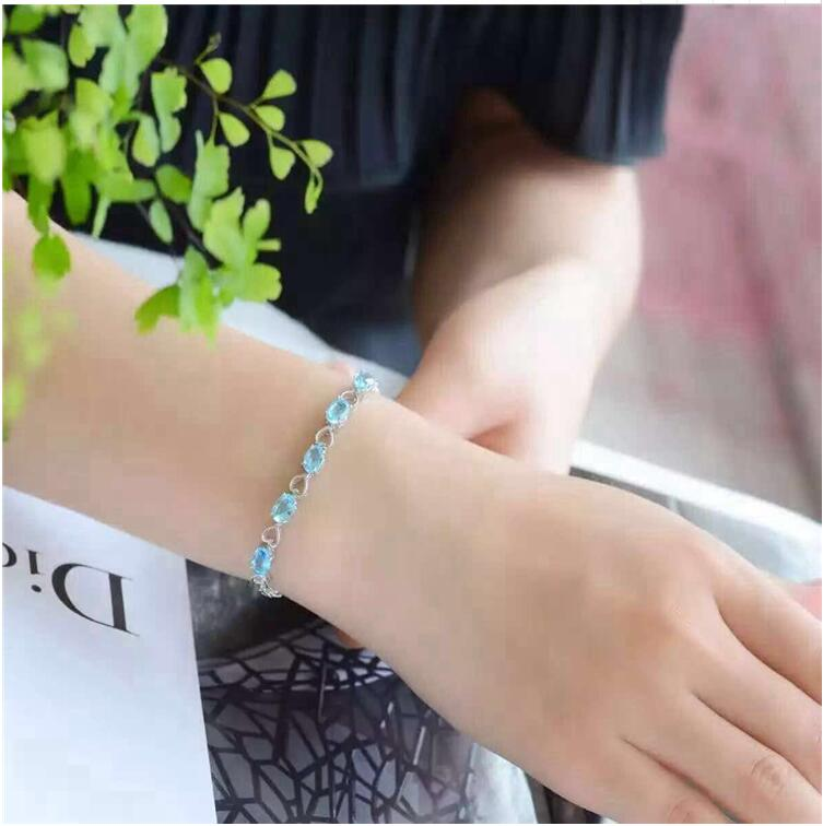 цена на Natural blue chain bracelet Free shipping Real and natural blue topaz Fine jewelry 5*7mm 5pcs