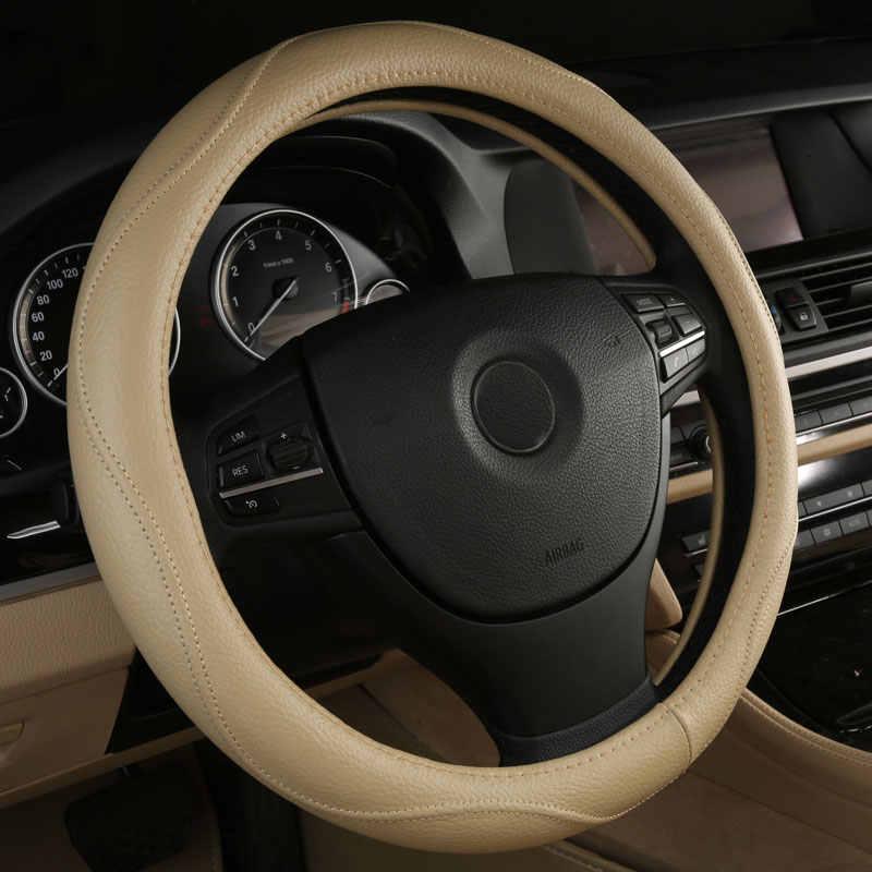 車のステアリングホイールカバー本革アクセサリー用トヨタハイランダーmr2 paseoピックアッププレビアプリウスrav4セコイア