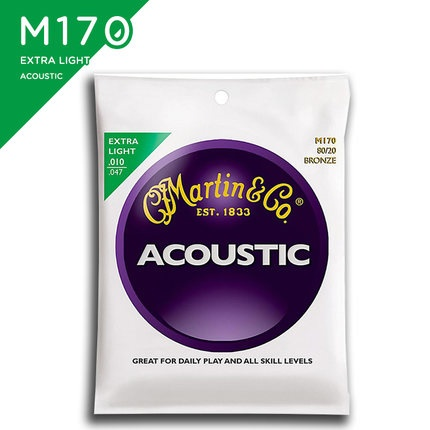 Martin M170 80/20 Bronze Round Wound Extra Light Acoustic Guitar Strings, 010-047 amola acoustic guitar strings set 010 012 011 pure copper steel 010 047 acoustic wound guitar 1 6th string musical instruments
