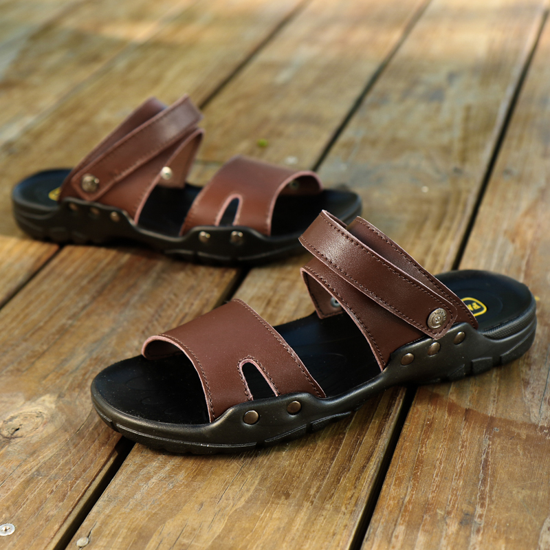 Fires Mans Artificial Leather Beach Shoes Fashion Flat Sandles Male Summer Outdoor PU Sandals Non-slip Sandals For Men 39-48