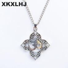 XKXLHJ 1Pcs Necklace Woman Filigree OHM OM AUM Buddha Lotus Silver Pendant Necklace, Buddhist, Yoga Necklace цена в Москве и Питере
