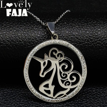 2019 Fashion Unicorn Stainless Steel Necklaces Pendants for Women Silver Color Crystal Jewelry collar gato N18260