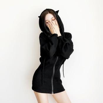 Kawaii Hoodie Harajuku Long Sweatshirt Women Black Punk Gothic Hoodies Hoody Ladies Zip-up 2019 Autumn Cute Ear Cat Hoodies 1