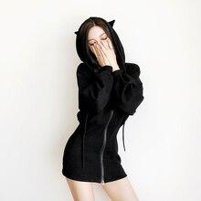 Kawaii Hoodie Harajuku Long Sweatshirt Women Black Punk Gothic Hoodies Hoody Ladies Zip-up 2018 Autumn Cute Ear Cat Hoodies