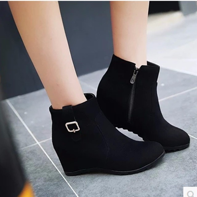 Women s Wedges Height Increasing Big Accurate size 34-43 Ankle Short Boots  Ladies Zip Shoes Round toe Winter Add Fur Warm Botas f1fa7a3ea