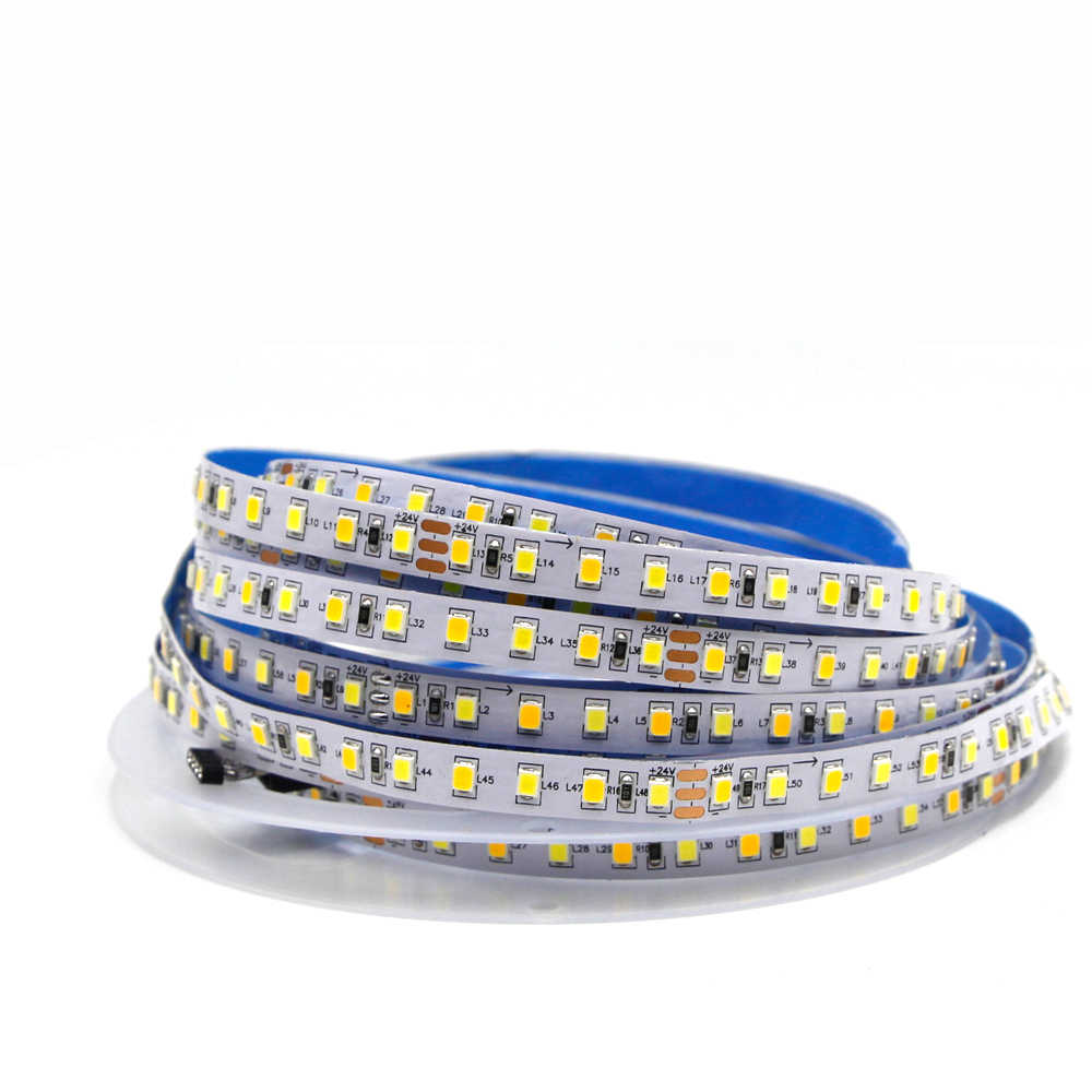 Dual Warna Lampu LED Strip SMD 2835 CCT Warna Suhu Adjustable Dimmable LED String Tape Lampu W + WW 180 LED/M 24V 12V 5 M