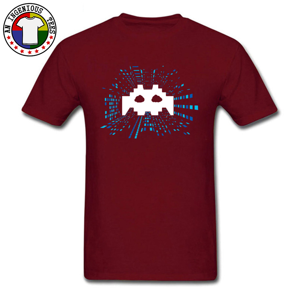 Techno-Android-Music April FOOL DAY 100% Cotton Round Neck Tops Shirts Short Sleeve Comics Tee Shirts High Quality Crazy Tshirts Techno-Android-Music maroon